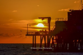 Framed Sunset at Santa Monica, California, USA