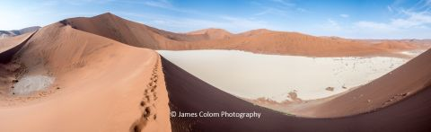 Walking up the tallest sand dunes in the world, Sossusvlei, Namibia, Africa