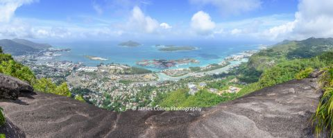 View over Victoria, Seychelles from the top of Copolia hiking trail